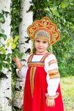 Niña en el nacional ruso sundress Fotografía de archivo libre de regalías