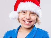 Niña en el sombrero de Santa Imagen de archivo libre de regalías