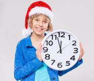 Niña en el sombrero de Santa Foto de archivo libre de regalías