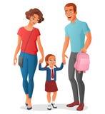 Niña en ir a la escuela con los padres Ilustración del vector ilustración del vector