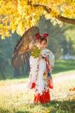 Niña en kimono japonés Fotografía de archivo