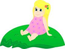 Niña en la hierba libre illustration