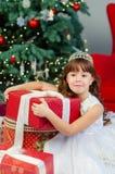 Niña en la Navidad Foto de archivo