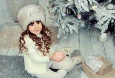 Niña en la Navidad Fotografía de archivo
