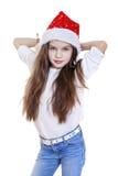 Niña en la Navidad aislada en blanco Fotografía de archivo libre de regalías