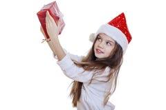 Niña en la Navidad aislada en blanco Fotos de archivo libres de regalías