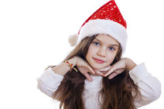 Niña en la Navidad aislada en blanco Imagen de archivo