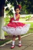 Niña en la polca Dot Dress Fotografía de archivo libre de regalías