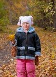 Niña en parque del otoño. Imagen de archivo libre de regalías