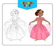 Niña en princesa del traje del carnaval Libro de colorante Fotos de archivo libres de regalías