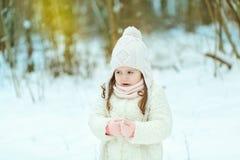 Niña en un abrigo de pieles blanco en el bosque del invierno fotos de archivo libres de regalías