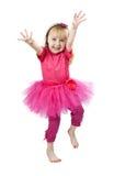 Niña en un baile rosado de la alineada en estudio Fotos de archivo