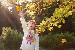 Niña en un parque del otoño fotografía de archivo