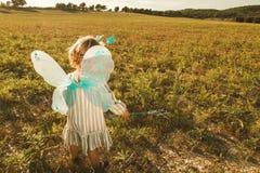 Niña en un traje de la mariposa con las alas en el campo foto de archivo