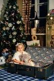 Niña en una decoración del ` s del Año Nuevo, bebé y la Navidad 1 Imagenes de archivo