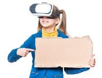 Niña en vidrios de VR Foto de archivo