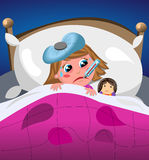 Niña enferma y triste en cama Foto de archivo
