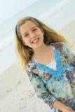 Niña feliz en la playa Foto de archivo libre de regalías