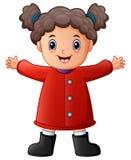 Niña feliz en ropa roja del invierno ilustración del vector