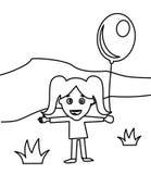 Niña feliz linda con una página del colorante del globo libre illustration