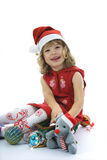 Niña hermosa con la decoración de la Navidad Foto de archivo libre de regalías