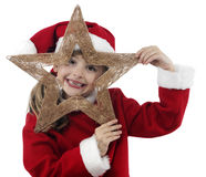Niña hermosa con la decoración de la Navidad fotografía de archivo libre de regalías