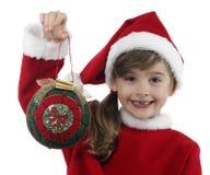 Niña hermosa con la decoración de la Navidad Fotos de archivo libres de regalías