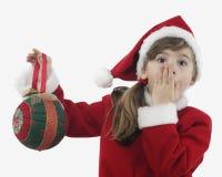 Niña hermosa con la decoración de la Navidad Imagen de archivo
