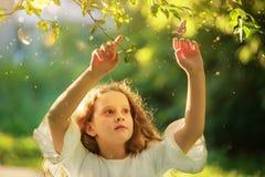 Niña hermosa que mira una mariposa del vuelo en el verano su imagenes de archivo