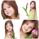Niña hermosa que sostiene el tulipán Imágenes de archivo libres de regalías