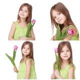 Niña hermosa que sostiene el tulipán Fotos de archivo