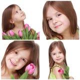 Niña hermosa que sostiene el tulipán Foto de archivo