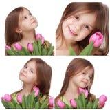 Niña hermosa que sostiene el tulipán Fotografía de archivo