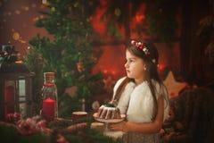 Niña hermosa que sostiene en sus manos una torta de la Navidad Foto de archivo libre de regalías