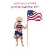 Niña Lily Congratulations a todo el Día de la Independencia de los E.E.U.U. Imágenes de archivo libres de regalías