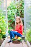 Niña linda con el busket grande lleno de verduras Tiempo de cosecha fotografía de archivo libre de regalías