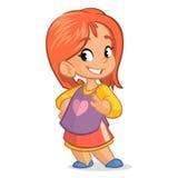 Niña linda con el pelo rojo; vector el carácter del estilo de la historieta en una falda de la camisa Foto de archivo libre de regalías