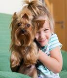 Niña linda con el terrier de Yorkshire interior Imagenes de archivo