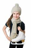 Niña linda con la figura patines Imagen de archivo libre de regalías