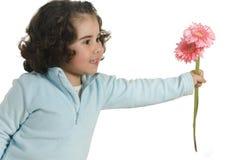 Niña linda con la flor Imágenes de archivo libres de regalías