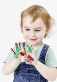 Niña linda con la pintura del finger fotografía de archivo libre de regalías