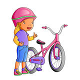Niña linda de la historieta con la bicicleta Imagen de archivo libre de regalías