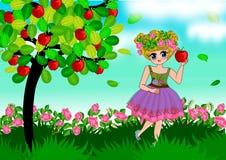 Niña linda en granja de la manzana libre illustration