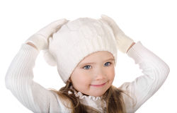 Niña linda en sombrero caliente y guantes aislados Fotos de archivo libres de regalías