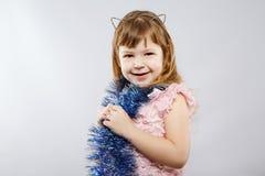 Niña linda en vestido en el estudio Fotografía de archivo libre de regalías