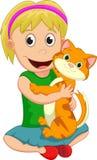 Niña linda que abraza su gato del animal doméstico libre illustration