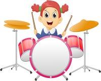 Niña linda que juega el tambor stock de ilustración
