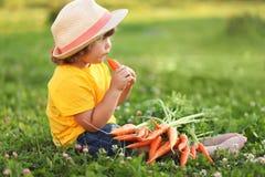 Niña linda que se sienta en una hierba verde que come la zanahoria Imagenes de archivo