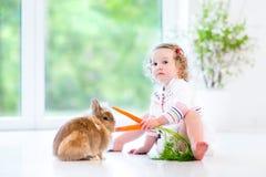 Niña pequeña adorable que juega con un conejito real Fotografía de archivo