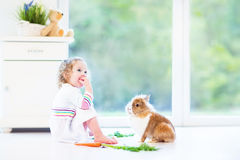 Niña pequeña adorable que juega con un conejito real Foto de archivo libre de regalías
